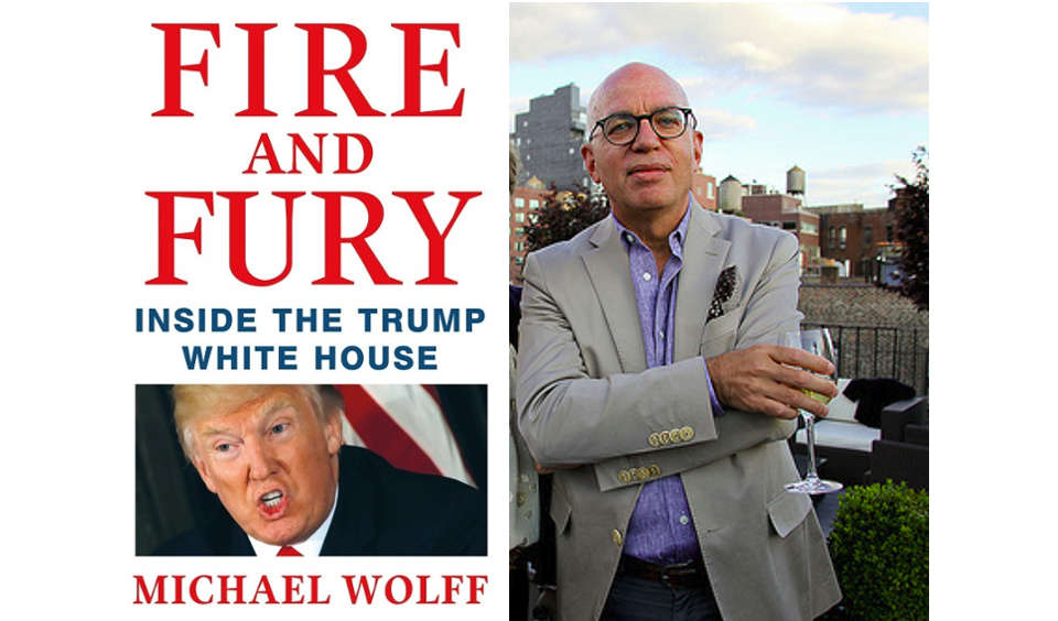 """Fire and Fury"". Outside the White House"