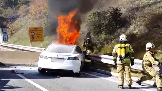 Model S brennt